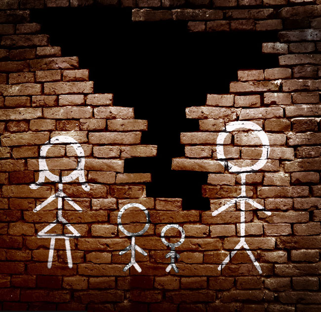 Outline of family on broken brick wall, representing a divorce, a legal service offered by Sharek & Co, a leading law firm in Edmonton that also handles legal separation, child custody, child support, emergency protection orders and restraining orders.