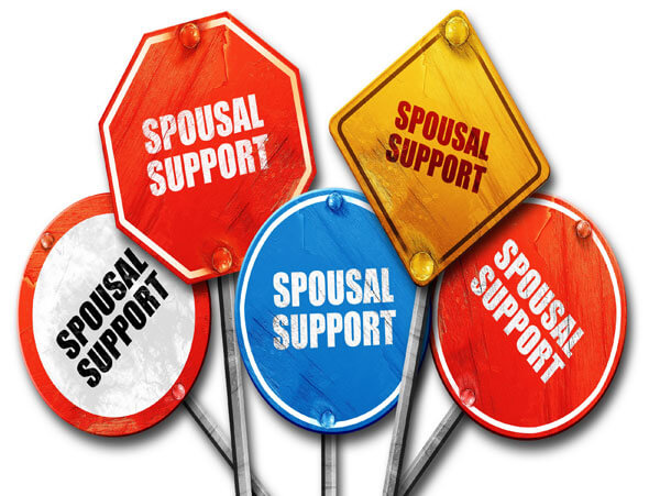 The words spousal support on various signs, representing the different forms of spousal support handled by the best divorce lawyers in the Edmonton law firm, Sharek Logan & van Leenen LLP
